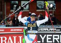 Winner ZENHAEUSERN Ramon of Switzerland celebrates during the Audi FIS Alpine Ski World Cup Men's Slalom 58th Vitranc Cup 2019 on March 10, 2019 in Podkoren, Kranjska Gora, Slovenia. Photo by Matic Ritonja / Sportida