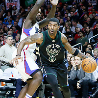 16 December 2015: Milwaukee Bucks guard O.J. Mayo (3) drives past Los Angeles Clippers forward Lance Stephenson (1) during the Los Angeles Clippers 103-90 victory over the Milwaukee Bucks, at the Staples Center, Los Angeles, California, USA.