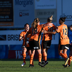 BRISBANE, AUSTRALIA - OCTOBER 30: Brisbane Roar players celebrate a Katrina Gorry goal during the round 1 Westfield W-League match between the Brisbane Roar and Sydney FC at Spencer Park on November 5, 2016 in Brisbane, Australia. (Photo by Patrick Kearney/Brisbane Roar)