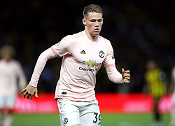 """Manchester United's Scott McTominay during the Premier League match at Vicarage Road, Watford PRESS ASSOCIATION Photo. Picture date: Saturday September 15, 2018. See PA story SOCCER Watford. Photo credit should read: Nigel French/PA Wire. RESTRICTIONS: EDITORIAL USE ONLY No use with unauthorised audio, video, data, fixture lists, club/league logos or """"live"""" services. Online in-match use limited to 120 images, no video emulation. No use in betting, games or single club/league/player publications."""