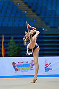 Whelan Carmen during qualifying at hoop in Pesaro World Cup at Adriatic Arena on April 10, 2015. Carmen was born on  August 31,1998 in Markham. She is a Canadian individual rhythmic gymnast.