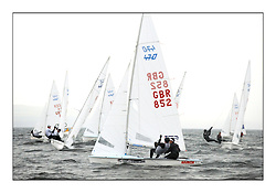 470 Class European Championships Largs - Day 1.Racing in grey and variable conditions on the Clyde...GBR852, Philip SPARKS, David KOHLER,  RLYC