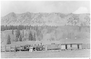 """The scrapper has RGS #461 is at Lizard Head with various pieces of rolling stock.  The rear wall of the Lizard Head section house is not often shown.<br /> RGS  Lizard Head, CO  Taken by Kindig, Richard H. - 9/15/1952<br /> In book """"Rio Grande Southern II, The: An Ultimate Pictorial Study"""" page 277<br /> Also in """"RGS Story Vol. IV"""", pp. 286-287.  See also pp. 284-285 for more info."""