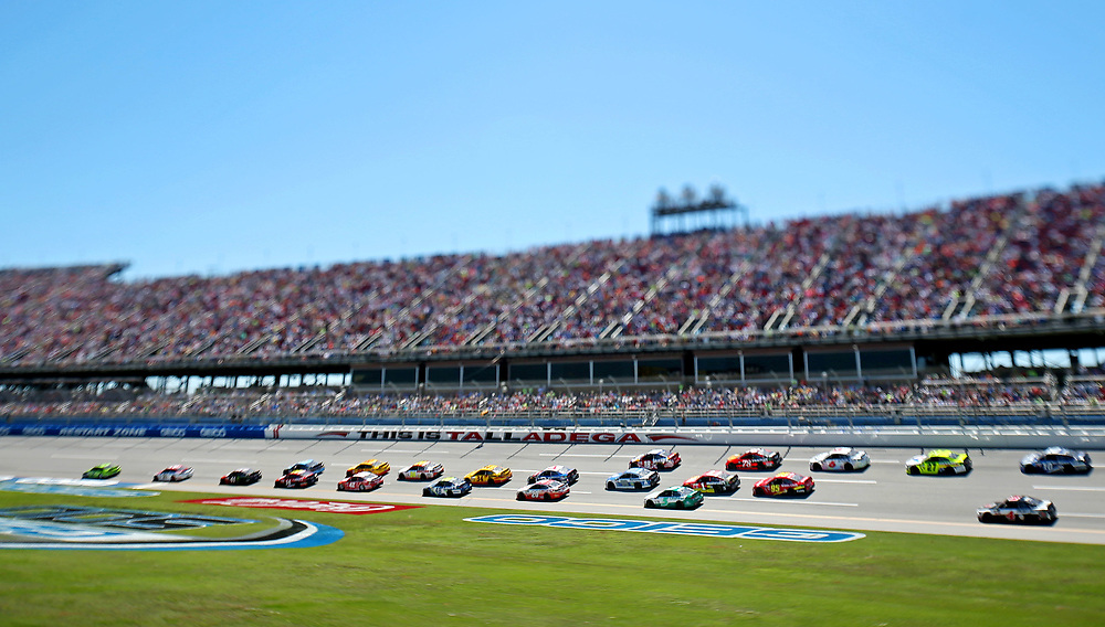 May 7, 2017; Talladega, AL, USA; (Editors note: tilt-shift lens was used to create this image) Drivers go through the tri-oval during the GEICO 500 at Talladega Superspeedway. Mandatory Credit: Peter Casey-USA TODAY Sports