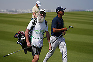 Johannes Veerman (USA) and his caddy Nick Pugh on the 9th during Round 3 of the Oman Open 2020 at the Al Mouj Golf Club, Muscat, Oman . 29/02/2020<br /> Picture: Golffile | Thos Caffrey<br /> <br /> <br /> All photo usage must carry mandatory copyright credit (© Golffile | Thos Caffrey)