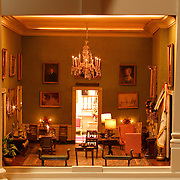 A scale model of the real White House is on display at the Reagan Library in Simi Valley, California. This is the Green Room.
