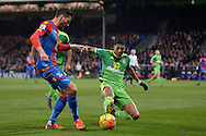 Patrick van Aanholt of Sunderland ® challenges Joel Ward of Crystal Palace. Barclays Premier league match, Crystal Palace v Sunderland at Selhurst Park in London on Monday 23rd November 2015.<br /> pic by John Patrick Fletcher, Andrew Orchard sports photography.