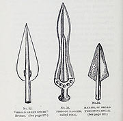 Ancient weapons spearheads and daggers From the book  ' Athletics and manly sport ' by John Boyle O'Reilly, 1844-1890 Published in Boston, by Pilot publishing company in 1890. DEDICATED TO THOSE WHO BELIEVE THAT A LOVE FOR INNOCENT SPORT, PLAYFUL EXERCISE. AND ENJOYMENT OF NATURE, IS A BLESSING INTENDED NOT ONLY FOR THE YEARS OF BOYHOOD, BUT FOR THE WHOLE LIFE OF A MAN