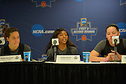 March 17, 2016: Arizona State Sun Devils guard Elisha Davis (23) addresses the media during the first practice day of the 2016 NCAA Division I Women's Basketball Championship first round in Tempe, Ariz.