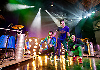 Recycled Percussion band Ryan Vezina, Justin Spencer and Tony Zane will be bringing a slice of Las Vegas to downtown Laconia with their Chaos and Kindness Experience venue at Veterans Square.  (Karen Bobotas Photo/for The Laconia Daily Sun)