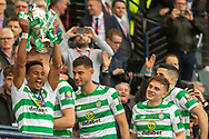 Scott Sinclair holds the William Hill Scottish Cup aloft following their victory today in the William Hill Scottish Cup Final match between Heart of Midlothian and Celtic at Hampden Park, Glasgow, United Kingdom on 25 May 2019.