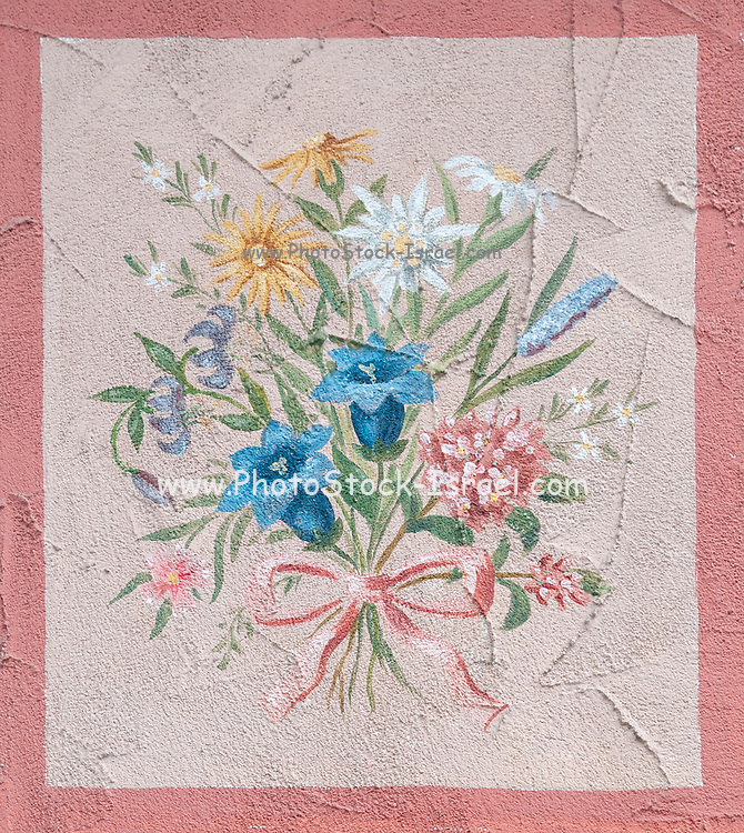 Floral wall decoration on a house exterior