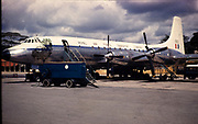 BADLY DAMAGED SLIDE Alphard 660, Royal Air Force Transport Command plane, Bristol 175 Britannia Fleet, taken in 1970s