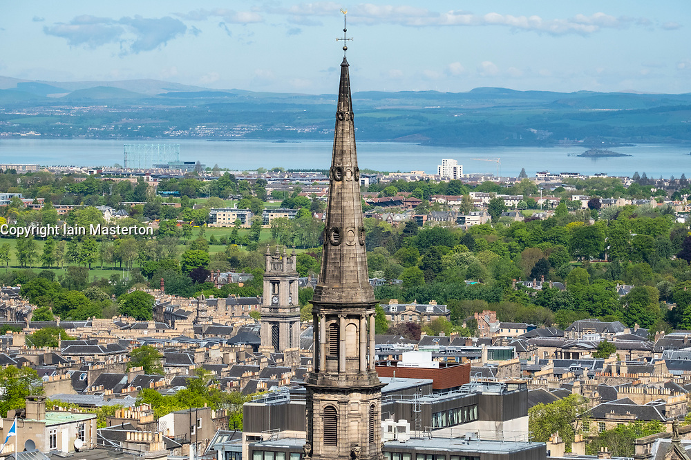 View of St Andrew's and Saint George's West Church steeple in the New Town in Edinburgh, Scotland, United Kingdom, UK