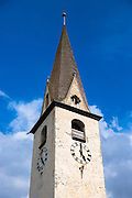 Church in the Engadine Valley village of Ardez, Switzerland