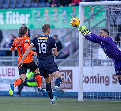 Falkirk's keeper Leonardo Fasan saves from Dundee United's Paul McMullan. half time : Falkirk 0 v o Dundee United, Scottish Championship game played 22/9/2018 at The Falkirk Stadium.