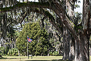 Spanish moss covers live oak trees hanging over a British flag at the Fort Frederica National Monument, the original colonial settlement in St. Simons Island, Georgia. Fort Frederica was established by Georgia founder James Oglethorpe in 1736 to serve as a bulwark against the Spanish settlements in Florida,