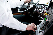 America's Road Team captain Gary Babbitt drives his truck around Dallas on Wednesday, April 3, 2013. Gary has driven over 4.7 million miles and is wearing his 4 million miles of safe driving ring. (Cooper Neill/The Dallas Morning News)