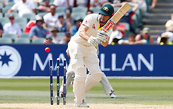 Australia's Shaun Marsh is bowled by Chris Woakes during day four of the Ashes Test match at the Adelaide Oval, Adelaide.