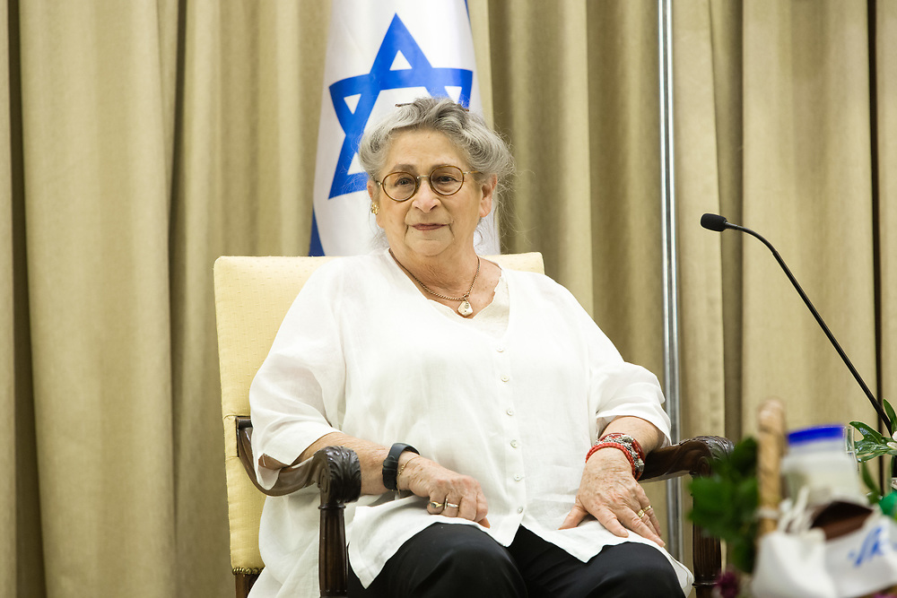 A portrait of Nechama Rivlin, wife of Israeli President Reuven Rivlin (not pictured), at the Israeli President's Residence in Jerusalem, on May 28, 2017.