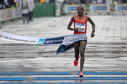 March 3, 2019 - Tokyo, Tokyo, Japan - Chumba Dickson (KEN) crosses the finish line to take the third place in the men's race of the Tokyo, Japan, March 3, 2019. Some 38,000 runners participated in the thirteenth edition of the Tokyo Marathon, one of the six World Marathon Majors. (Credit Image: © Alessandro Di Ciommo/NurPhoto via ZUMA Press)