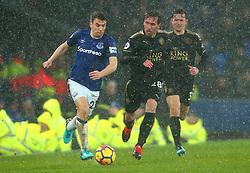 Seamus Coleman of Everton goes past Christian Fuchs of Leicester City - Mandatory by-line: Robbie Stephenson/JMP - 31/01/2018 - FOOTBALL - Goodison Park - Liverpool, England - Everton v Leicester City - Premier League