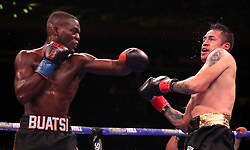Joshua Buatsi (left) in action against Marco Anotinio Periban of the WBA International Light-Heavyweight title fight at Madison Square Garden, New York.