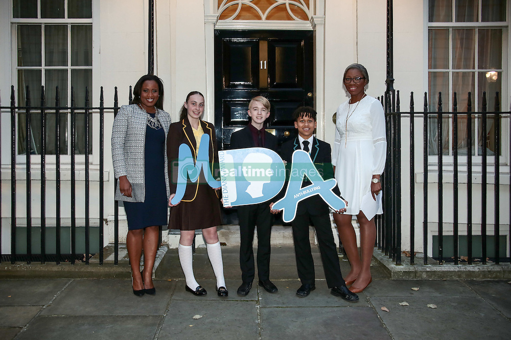 Charlene White (broadcaster, left to right), with Tara Whelan, Ryan Wiggins and Junior Frood (winners of the Diana Award) and Tessy Ojo (CEO of the Diana Award) posing for photos outside 11 Downing Street to celebrate seventeen years of the Diana Award. This award, set up in memory of Princess Diana, today has the support of both her sons the Duke of Cambridge and Prince Harry. Photo date: Wednesday, October 19, 2016. Photo credit should read: Richard Gray/EMPICS Entertainment