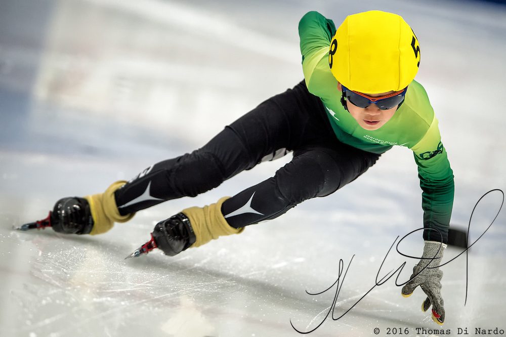 March 19, 2016 - Verona, WI - Justin Liu, skater number 58 competes in US Speedskating Short Track Age Group Nationals and AmCup Final held at the Verona Ice Arena.