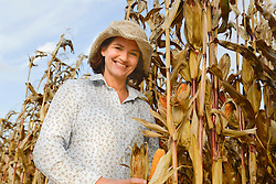 Mature woman with her corn, Bavaria, Germany