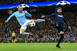 17th October 2017 - UEFA Champions League - Group F - Manchester City v Napoli - David Silva of Man City clashes with Elseid Hysaj of Napoli - Photo: Simon Stacpoole / Offside.