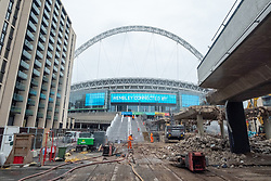 © Licensed to London News Pictures. 20/11/2020. London, UK. Wembley Stadium's famous ramp walkway is being demolished by construction workers. The 46 year old iconic walkway is giving way to the 'Olympic Steps' part of a wider plan to modernize Olympic Way. Photo credit: London News Pictures