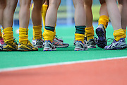 The Australian team's post match huddle during the Investec Hockey World League Semi Final 2013, the Quintin Hogg Memorial Sports Ground, University of Westminster, London, UK on 27 June 2013. Photo: Simon Parker