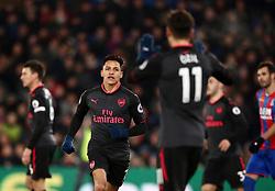 Arsenal's Alexis Sanchez celebrates scoring his side's second goal of the game during the Premier League match at Selhurst Park, London.