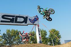 September 30, 2018 - Imola, BO, Italy - Clement DESALLE (BEL) placed third in Race 2 of MXGP of Italy in Imola, here jumping during first laps of the race. (Credit Image: © Riccardo Righetti/ZUMA Wire)