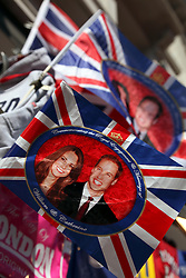 22 April 2011. London, England..Tourist trinkets to celebrate the Royal wedding and London at a stall on Oxford Street in the heart of London's West End..Photo; Charlie Varley.