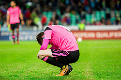 Andy Robertson of Scotland looks dejected after the football match between National Teams of Slovenia and Scotland of Fifa 2018 World Cup European qualifiers, on October 8, 2017 in SRC Stozice, Ljubljana, Slovenia. Photo by Vid Ponikvar / Sportida