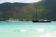 A cruise ship on anchor of the tropical coast, Seychelles