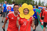 Wales fans outside the stadium before k/o. Euro 2016, Wales v Slovakia at Matmut Atlantique , Nouveau Stade de Bordeaux  in Bordeaux, France on Saturday 11th June 2016, pic by  Andrew Orchard, Andrew Orchard sports photography.