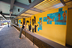 Pu`uhonua o Honaunau or Place of Refuge National Historical Park Visitor Center, exhibiting cultural wall art, Honaunau, Big Island, Hawaii