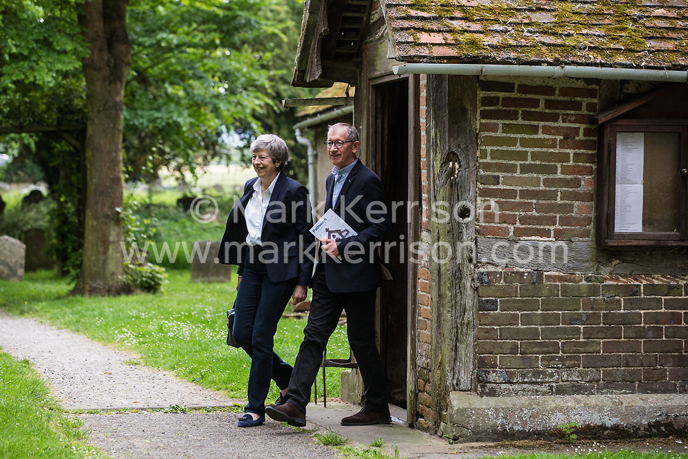 Maidenhead, UK. 26 May, 2019. Prime Minister Theresa May leaves church after attending a service close to her Maidenhead constituency two days after announcing the date of her resignation as Conservative party leader.