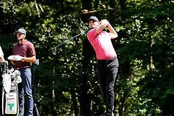 September 2, 2018 - Norton, MA, U.S. - NORTON, MA - SEPTEMBER 02: Kyle Stanley of the United States drives from the 9th tee during the Third Round of the Dell Technologies Championship on September 2, 2018, at TPC Boston in Norton, Massachusetts. (Photo by Fred Kfoury III/Icon Sportswire) (Credit Image: © Fred Kfoury Iii/Icon SMI via ZUMA Press)