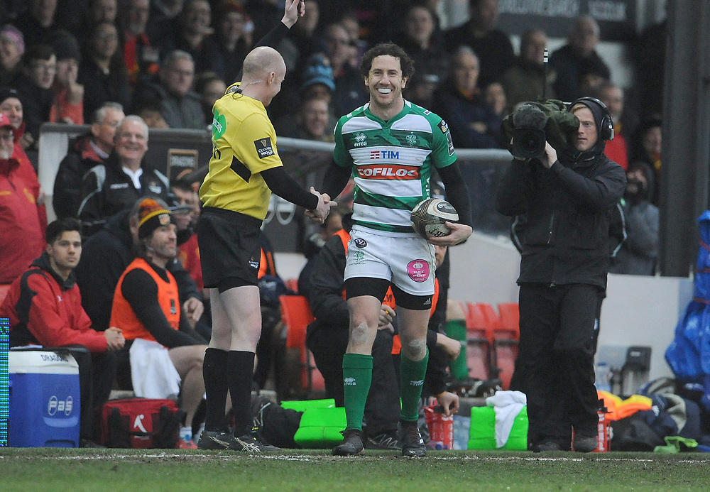Benetton Rugby's Marty Banks has a laugh with the lines man <br /> <br /> Photographer Ian Cook/CameraSport<br /> <br /> Guinness Pro14 Round 15 - Dragons v Benetton Rugby - Sunday 18th February 2018 - Rodney Parade - Newport<br /> <br /> World Copyright © 2018 CameraSport. All rights reserved. 43 Linden Ave. Countesthorpe. Leicester. England. LE8 5PG - Tel: +44 (0) 116 277 4147 - admin@camerasport.com - www.camerasport.com