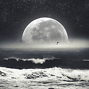 Full Moon over the horizon of a rough seascape<br /> Redbubble Prints: https://rdbl.co/2vudQjS