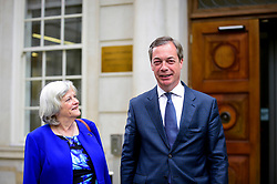© Licensed to London News Pictures. 24/04/2019. LONDON, UK.  Nigel Farage and Ann Widdecombe, former Conservative MP, attend a photocall for the Brexit Party at outside Europe House (the European Commission office) in Smith Square, Westminster.  Ann Widdecombe has announced that, while she will vote Conservative in local elections, she will stand as a candidate for Nigel Farage's Brexit party in the upcoming European elections on 23 May 2019. Photo credit: Stephen Chung/LNP