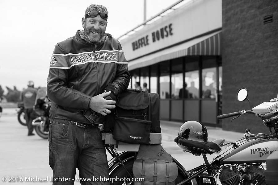 """Robert Gustavsson, the """"Big Swede,"""" at a Waffle House lunch stop during Stage 7 of the Motorcycle Cannonball Cross-Country Endurance Run, which on this day ran from Sedalia, MO to Junction City, KS., USA. Thursday, September 11, 2014.  Photography ©2014 Michael Lichter."""
