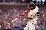 San Francisco Giants shortstop Brandon Crawford (35) swings at an inside pitch against the New York Mets at AT&T Park in San Francisco, Calif., on August 21, 2016. (Stan Olszewski/Special to S.F. Examiner)