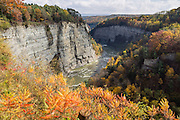 "In Letchworth State Park, renowned as the ""Grand Canyon of the East,"" the Genesee River roars northeast through a gorge over three major waterfalls between cliffs as high as 550 feet, surrounded by diverse forests which turn bright fall colors in the last three weeks of October. The large park stretches 17 miles between Portageville and Mount Morris in the state of New York, USA. Drive or hike to many scenic viewpoints along the west side of the gorge. The best walk is along Gorge Trail #1 above Portage Canyon from Lower Genesee Falls (70 ft high), to Inspiration Point, to Middle Genesee Falls (tallest, 107 ft), to Upper Genesee Falls (70 ft high). High above Upper Falls is the railroad trestle of Portageville Bridge, built in 1875, to be replaced 2015-2016. Geologic history: in the Devonian Period (360 to 420 million years ago), sediments from the ancestral Appalachian mountains eroded into an ancient inland sea and became the bedrock (mostly shales with some layers of limestone and sandstone plus marine fossils) now exposed in the gorge. Genesee River Gorge is very young, as it was cut after the last continental glacier diverted the river only 10,000 years ago. The native Seneca people were largely forced out after the American Revolutionary War, as they had been allies of the defeated British. Letchworth's huge campground has 270 generously-spaced electric sites."