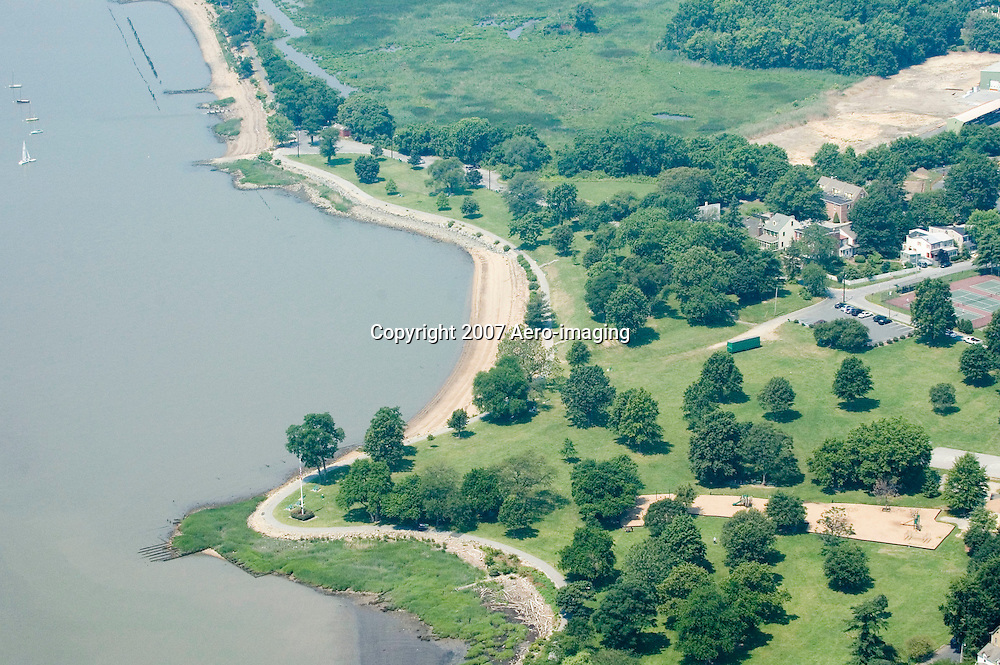 Aerial view of Old New Castle, Delaware <br /> Battery park, The Strand