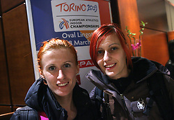 Sonja Roman and Nina Kolaric at the reception when Slovenian athletics team for European Athletics Indoor Championships come to their hotel Art&Tech Meridien in Torino,  Italy, on March 4, 2009. (Photo by Vid Ponikvar / Sportida)